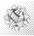 silver realistic glossy ribbon bow on transparent vector image vector image