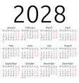 simple calendar 2028 monday vector image vector image