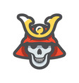 skull samurai helmet icon cartoon vector image
