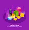 stock exchange isometric composition vector image vector image