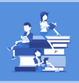 students on book pile vector image vector image