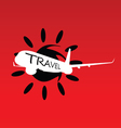 sun with travel airplane vector image vector image