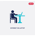 two color internet on laptop computer icon from vector image vector image