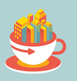 volume modern city in cup of coffee vector image