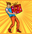 young man birthday boy with gift box vector image