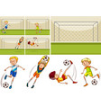 football players in the field vector image