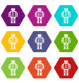abstract robot icon set color hexahedron vector image vector image