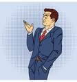 Advertising Man in Pop Art Style Pointing Hand vector image vector image