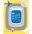 Airplane window Holiday background travel concept vector image