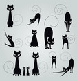 black cat silhouette collection design vector image vector image