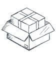 box ecommerce sketch for delivery online vector image