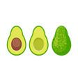 cartoon avocado icon set vector image