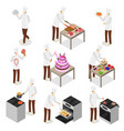 character chef cooks 3d icon set isometric view vector image
