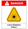 Danger laser radiation Class I symbol in yellow vector image