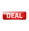 deal red square 3d realistic isolated web button vector image vector image