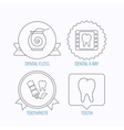 Dental floss tooth and toothpaste icons vector image