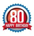 Eighty years happy birthday badge ribbon vector image vector image
