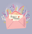 envelope with love letter colorful hand drawn vector image vector image