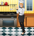 Female chef working in the kitchen vector image