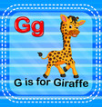 flashcard letter g is for giraffe vector image vector image