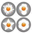 fried eggs figured fried eggs on the pan vector image vector image