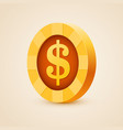 gold coin of dollar isolated on bright background vector image vector image