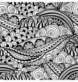Hand-drawn black and white seamless pattern