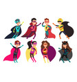 happy kids superheroes wearing colorful superheros vector image