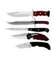 hunting knives collection military knife bayonet vector image
