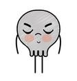 kawaii cute angry skull design vector image