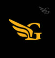 letter g wings logo vector image vector image