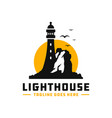 lighthouse logo on a rock vector image vector image