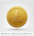 litecoin symbol on round coin with drop shadow vector image