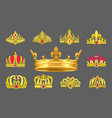luxurious gold crowns inlaid with ruby stones set vector image vector image