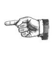 male hand pointer finger showing gesture vector image