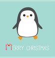 merry christmas candy cane text kawaii penguin vector image vector image