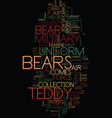 military teddy bears text background word cloud vector image vector image