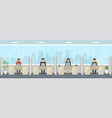 modern office interior with employees creative vector image