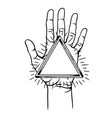 open hand with infinite triangle symbol vector image vector image