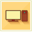 Personal Computer and Monitor Flat Icon vector image vector image