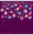 purple card with christmas balls vector image