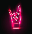 red glowing neon sign rock hand gesture rock vector image vector image