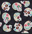 seamless pattern sugar skulls on a dark vector image