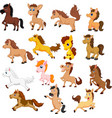 set cute cartoon horse isolated on a white back vector image vector image