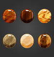 Set of round volume wooden buttons vector image vector image