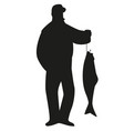 silhouette fisherman catching a salmon from a vector image