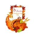 Thanksgiving Day greeting cornucopia design vector image vector image