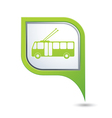 trolleybus icon on green map pointer vector image vector image