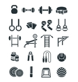 Weightlifting flat silhouettes icons set vector image