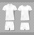 white realistic male polo shirt and sport shorts vector image